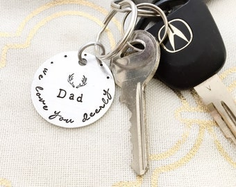 Dad: we love you deerly, antlers keychain, custom hand stamped keychain