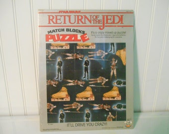 Unopened Star Wars Return of the Jedi Puzzle, Lucasfilm, Luke Skywalker, Princess Leia, Jabba the Hutt, Star Wars toys, 1980's toy