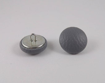 6-20mm gray faux leather covered buttons
