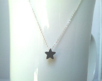 Lovely Tiny Star Charm Necklace - star pendant, small, simple, modern, everyday jewelry, Christmas gift