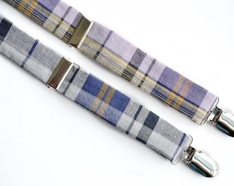Purple Plaid Suspenders for Boys - Baby Suspenders - Blue Suspenders for Kids - Little Boys Suspenders - Vintage Wedding Suspenders