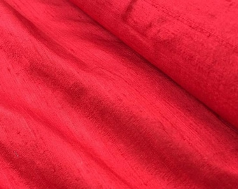 Pure silk dupion fabric, red