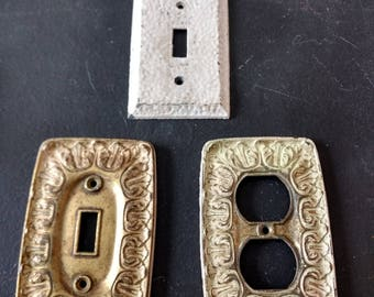 Vintage brass ornate light switch plate outlet cover