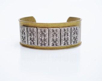 Boho Brass Cuff Bracelet w/ Vintage Marcasite - Vintage Jewelry , Vintage Metal, Gypsy Style, Festival Style, Estate, Luxury Jewelry, Gypset