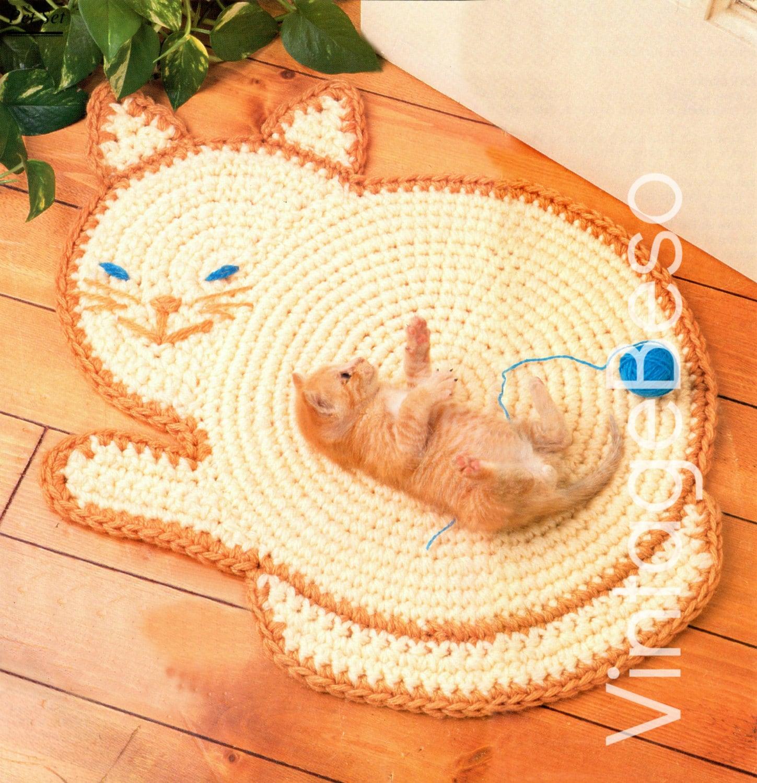 INSTANT DOWNlOAD • PdF Pattern • Cat Rug Crochet Pattern Kitty Cat ...