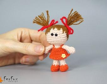 Miniature doll Collectible doll Girlfriend gift for girl Pocket size doll Gift for doll collector Tiny handmade doll Crochet OOAK art doll