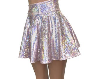 Holographic Pink Blush Shattered Glass High Waisted Skater Skirt - Clubwear, Rave Wear, Mini Circle Skirt