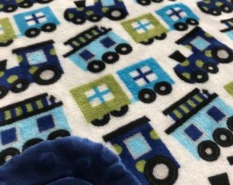 Minky Blanket Train Print Minky with Dark Blue Dimple Dot Minky Backing - Cute Gift for a Boy