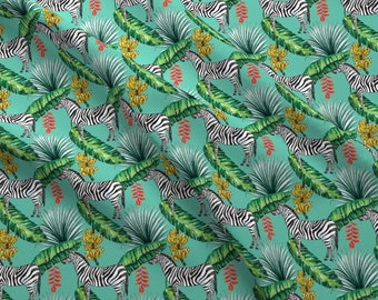 Zebra Jungle Fabric - Tropical Island Palms Zebra Bananas Leaves Watercolor By Khaus - Zebras Cotton Fabric By The Yard With Spoonflower