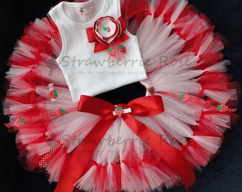 Birthday Outfit   Strawberry Shortcake Birthday Tutu Dress   1st Birthday Cake Smash Dress