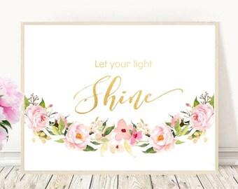 Let Your Light Shine, Matthew 5 16, Printable Art, Christening gift, bible Verse Print, Scripture Print,  Instant Download, Wall Art