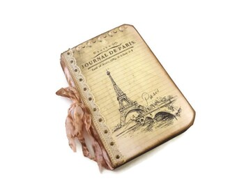 Paris Travel Journal, Cottage Chic, Eiffel Tower, Pale Pink, Lace, French, Paris Gift, Romantic, Wedding Guest Book, MADE TO ORDER