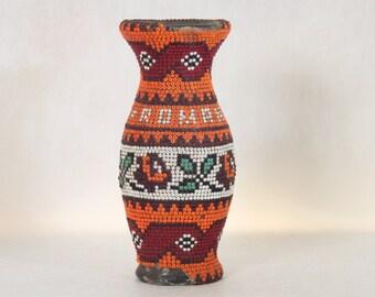 Vintage Beaded Vase Romania