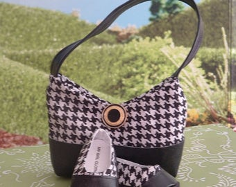 Houndstooth Check Pocketbook and Matching Shoes for American Girl