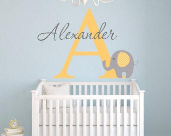 Name Wall Decal - Elephant Wall Decal - Baby Room Decor - Custom Name Wall Decal - Nursery Wall Decal - Elephant Nursery Wall Art