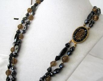 Black Necklace,  Hematite Beads, 2 Strand, Decorative Clasp