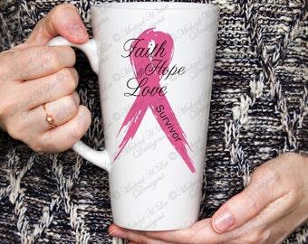 Breast Cancer Gift, Survivor Mug, Cancer Survivor Gift, Gift for Cancer Survivor, Cancer Awareness, Pink Ribbon Mug, March for cure