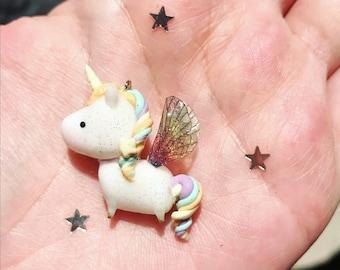 Magical Rainbow Unicorn charm with Rainbow wings