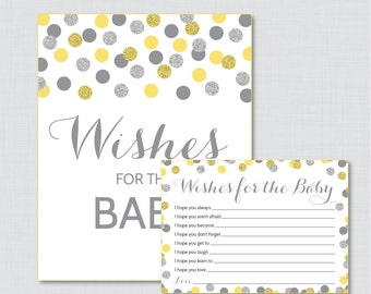 Yellow and Gray Wishes for Baby Baby Shower Activity - Printable Well Wishes for Baby Cards and Sign - Instant Download - Silver 0023-Y