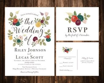 Jewel Tone Watercolor Floral Wedding Invitations; Printable OR set of 25