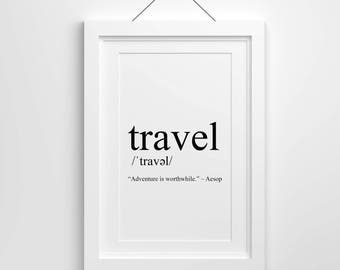 Travel Definition, Travel Print, Print, Travel Quote Print, Printable, Download, Travel Poster