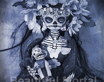 Beautiful Mortal Dia De Los Muertos Goth Blue Doll Doll Canon PRINT 528 Reproduction by Michael Brown