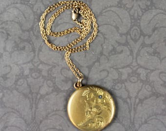 Vintage Edwardian Gold Tone Round Engraved House and Monogrammed Locket with Gold Filled Chain