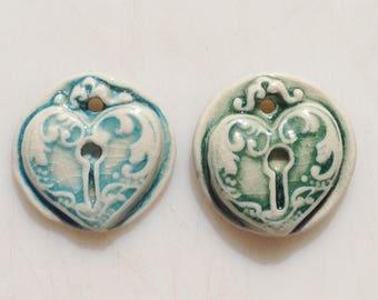 Handmade porcelain ceramic heart locket pendant