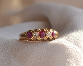 Gorgeous and regal vintage English-made 18K yellow gold 5-across natural Ruby and old mine cut Diamond ring