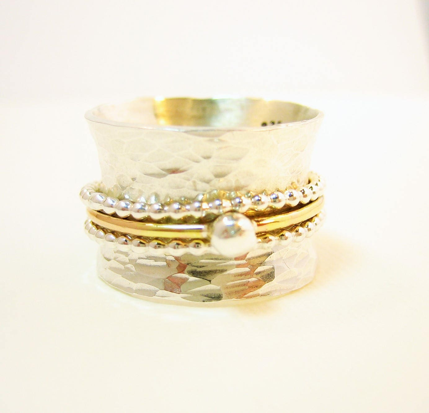 Hammered silver spinner ring, sterling silver and gold spinner ring, artisan made two toned silver ring, one-of-a-kind textured ring