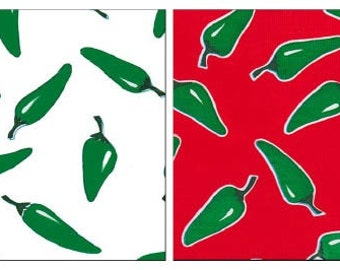 Oilcloth By The Yard Jalapeno Peppers  Your Choice of Color by the Yard