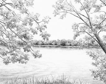 Custom Ink Landscape Drawing, Landscape Art, Pen And Ink, Personalized Scenery, Nature Artwork, Original Ink Drawing From Your Photo