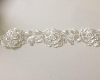 Guipure 3D 6.5 cm wide white lace