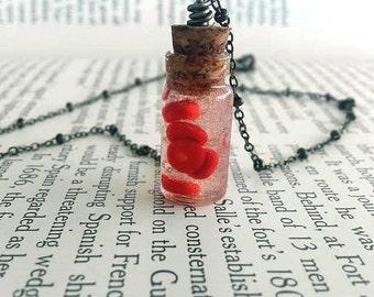 Red Blood Cells - Science Jewelry - Geek Jewelry - Nerd Jewelry - Glass Bottle Necklace - Anatomy Jewelry - Geek Art -  Science Art - Human