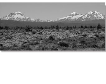 Three Sisters Mountains Panoramic Landscape Photo- Bend Oregon Sisters Oregon Black and White Landscapes