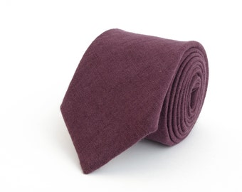 Purple linen necktie, wedding necktie, linen necktie,  groomsmen necktie,  purple necktie, purple bow tie for men