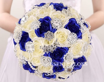 Ivory and Royal Blue Bouquet, Brooch Bouquet, Fabric Bouquet Wedding Flowers, Bridal Bouquet, Wedding Bouquet,Broach Bouquet,Crystal Bouquet