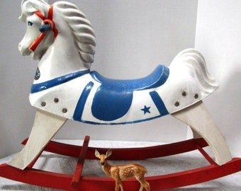 Vintage Rocking Horse, Buddo the Happi time Horse from Sears, Riding Horse, Old Toy, Cowboy Kid Giddee Up, 1940s, Nursery Decor, Stage Prop