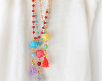 Boho Chic Beaded Necklace,  Bohemian Tassel Necklace,  Delicate Multi Colors Necklace,  Free Shipping