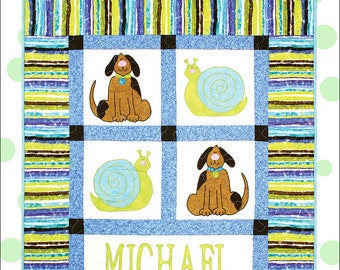 Personalized Baby Boy Quilt Pattern with Puppies and Snails