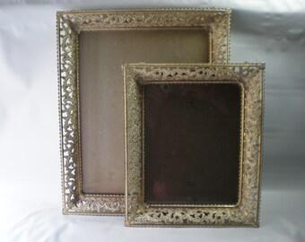 Two Vintage Filigree Metal Frames