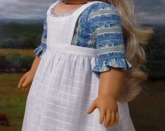 "3pc. Regency Ensemble (Dress, Cap & Apron). Made to Fit 18"" American Girl Doll Caroline, An Original Keepers Design"