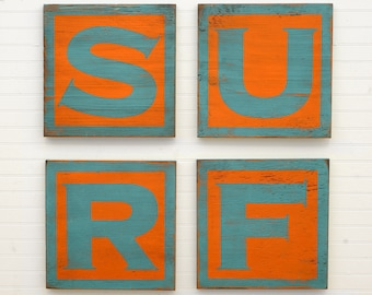 SURF Letter Set Beach Decor Wood Letters Surf Sign Surf Decor Idea Dorm Teen Room