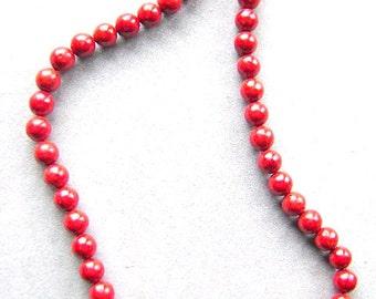 Beads, CORAL, 8MM, Round, Red, Orange, Ocean, Beach, Surfer, Full Strand I
