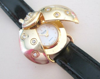 Ladybug Wrist Watch Gold Rhinestone Bug Ladies Watch