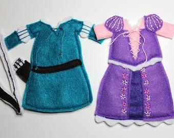 Merida and Rapunzel Dresses Felt Quiet Book Princess Dress Up Doll (Dresses Only)