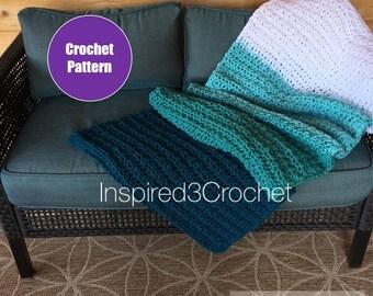 Crochet Throw Blanket Pattern - Tranquil Seas Crochet Blanket Pattern - Afghan Pattern - home decor - bedroom decor - gift