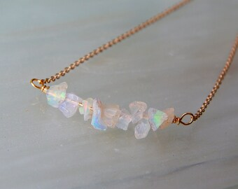 Raw Opal Necklace - Opal Bar Necklace - Opal/Silver/Gold Minimalist Necklace, Ethiopian Welo Opal/ October Birthstone, Birthstone Jewellery