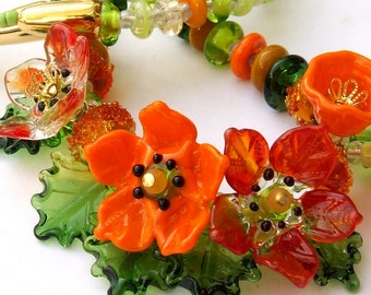Handmade Lampwork Floral Necklace, Orange -Green Bouquet, Festive Glass Necklace, Bead art necklace, Unique Gift, Made to Order