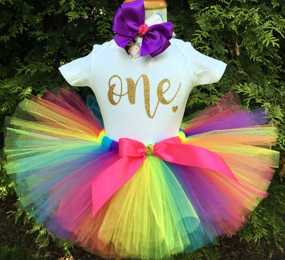 Rainbow First Birthday Outfit Gold ONE Bodysuit Rainbow